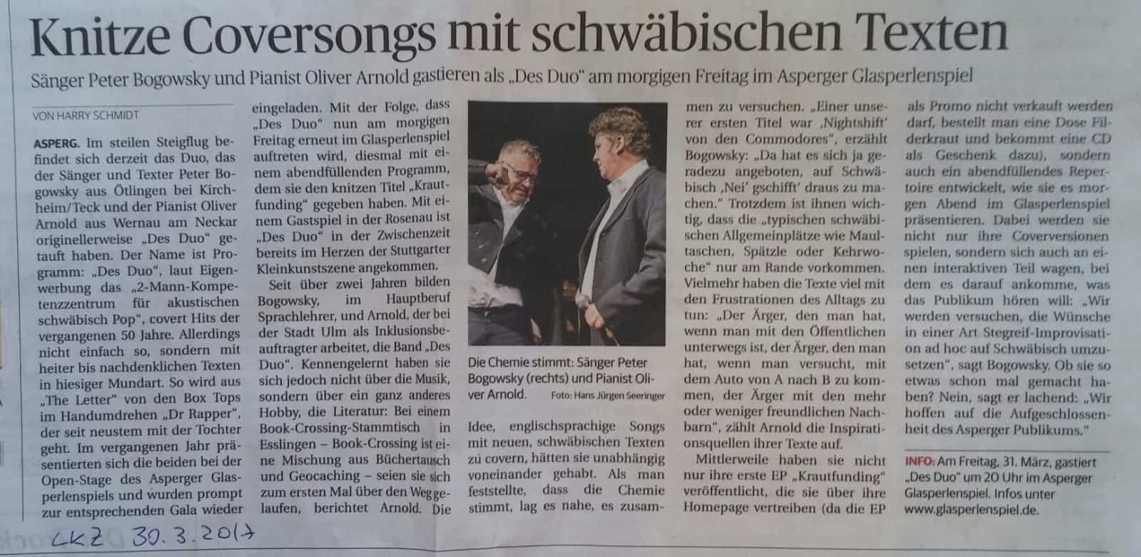 Ankuendigung Ludwigsburger Kreiszeitung
