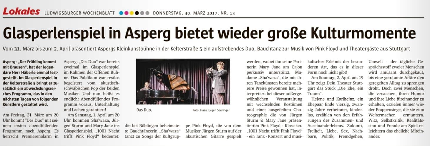 Ankuendigung Ludwigsburger Wochenblatt